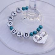 Step Dad Personalised Wine Glass Charm